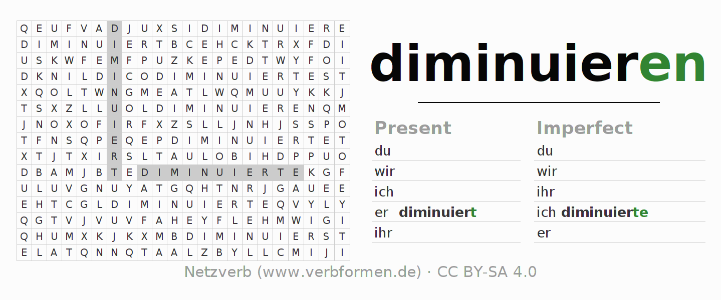 Word search puzzle for the conjugation of the verb diminuieren