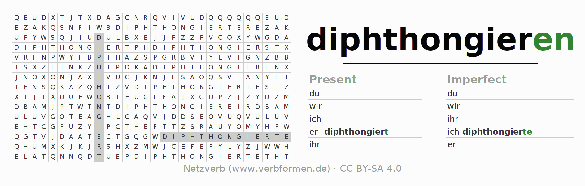 Word search puzzle for the conjugation of the verb diphthongieren
