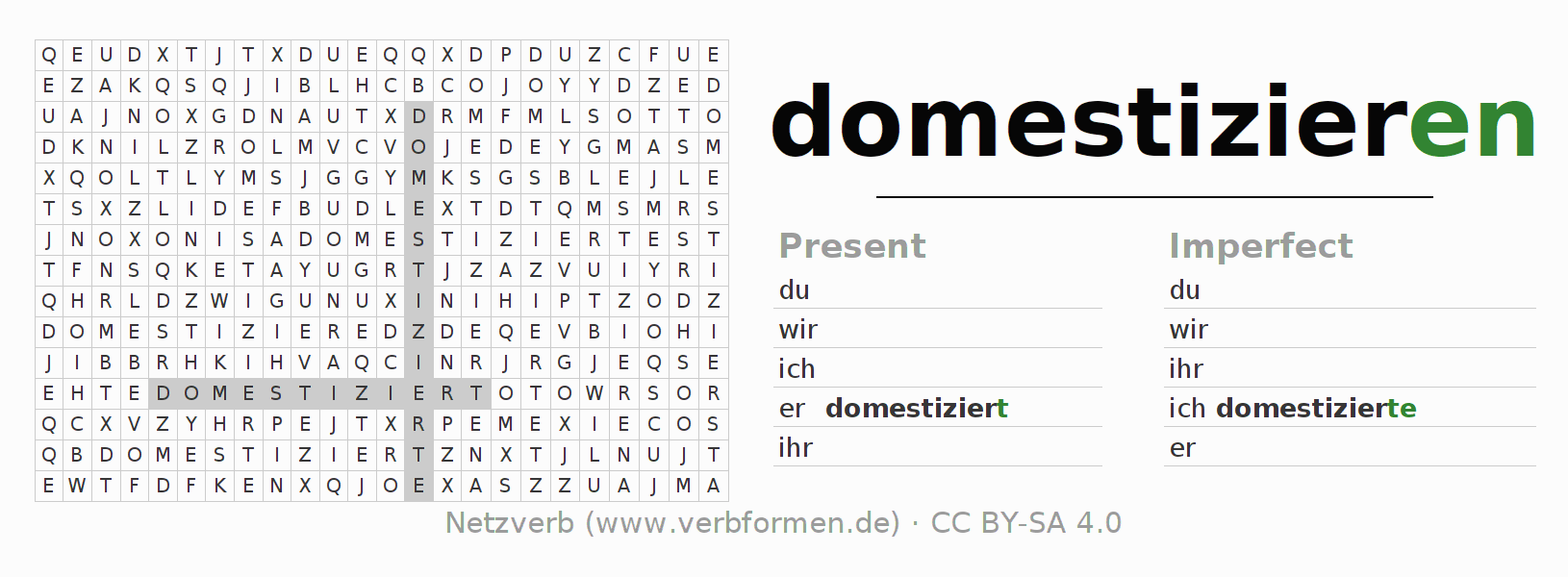 Word search puzzle for the conjugation of the verb domestizieren