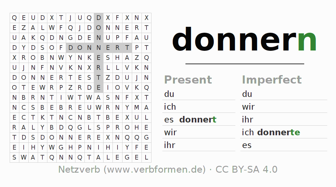 Word search puzzle for the conjugation of the verb donnern (hat)