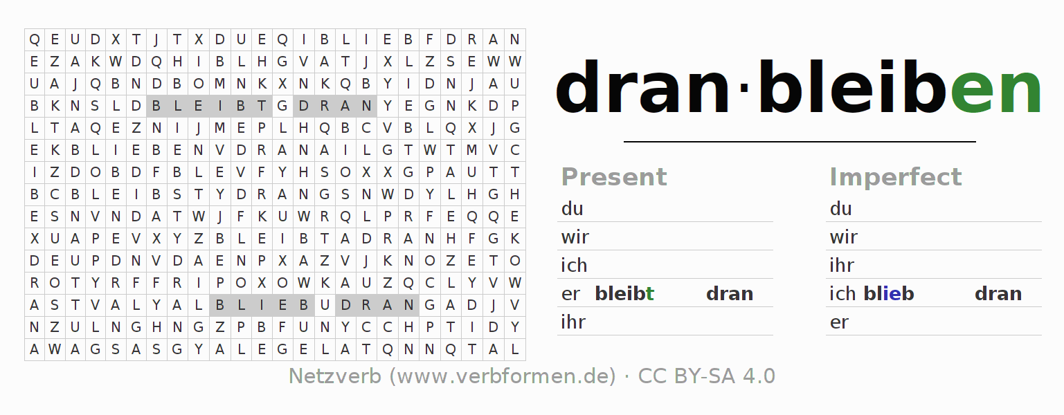 Word search puzzle for the conjugation of the verb dranbleiben
