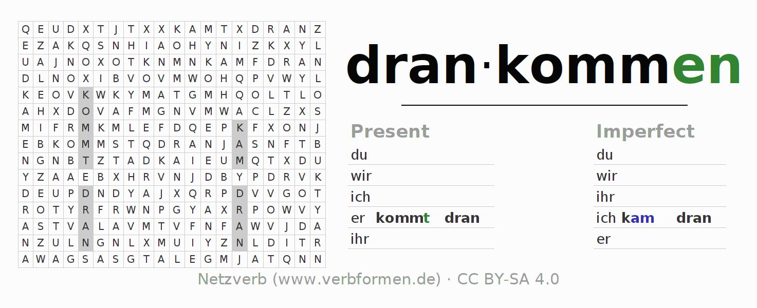 Word search puzzle for the conjugation of the verb drankommen