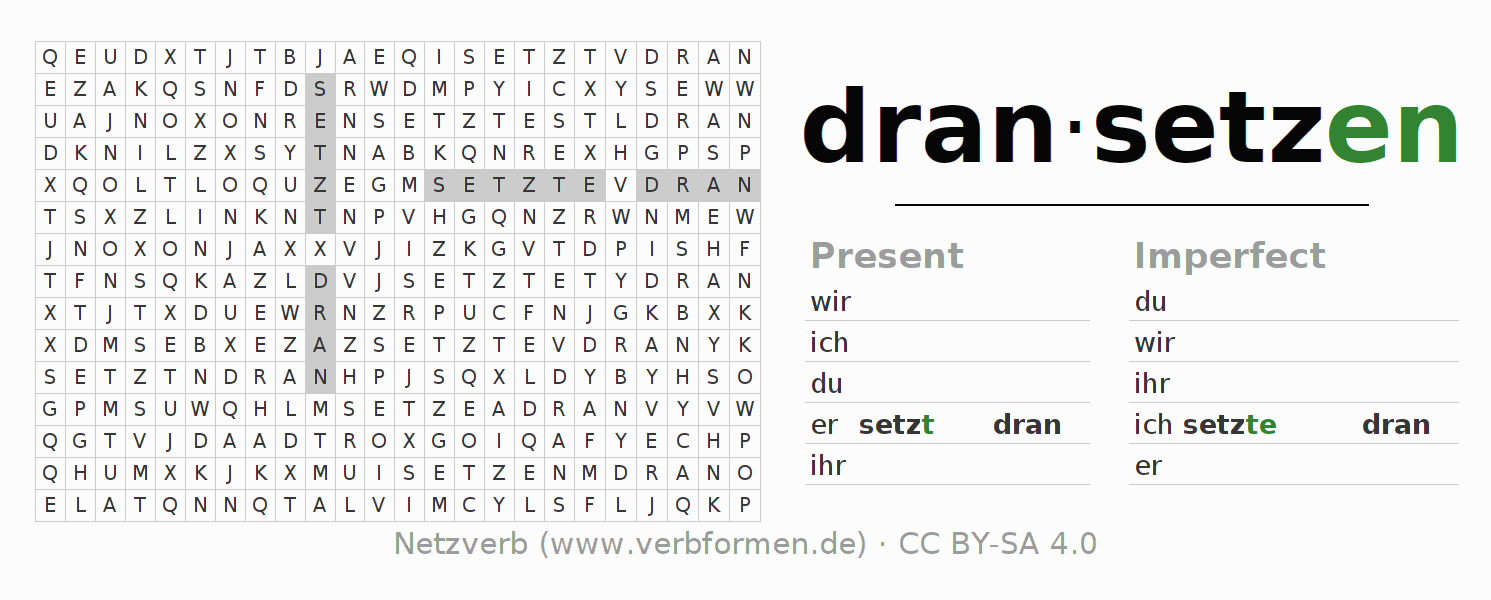 Word search puzzle for the conjugation of the verb dransetzen