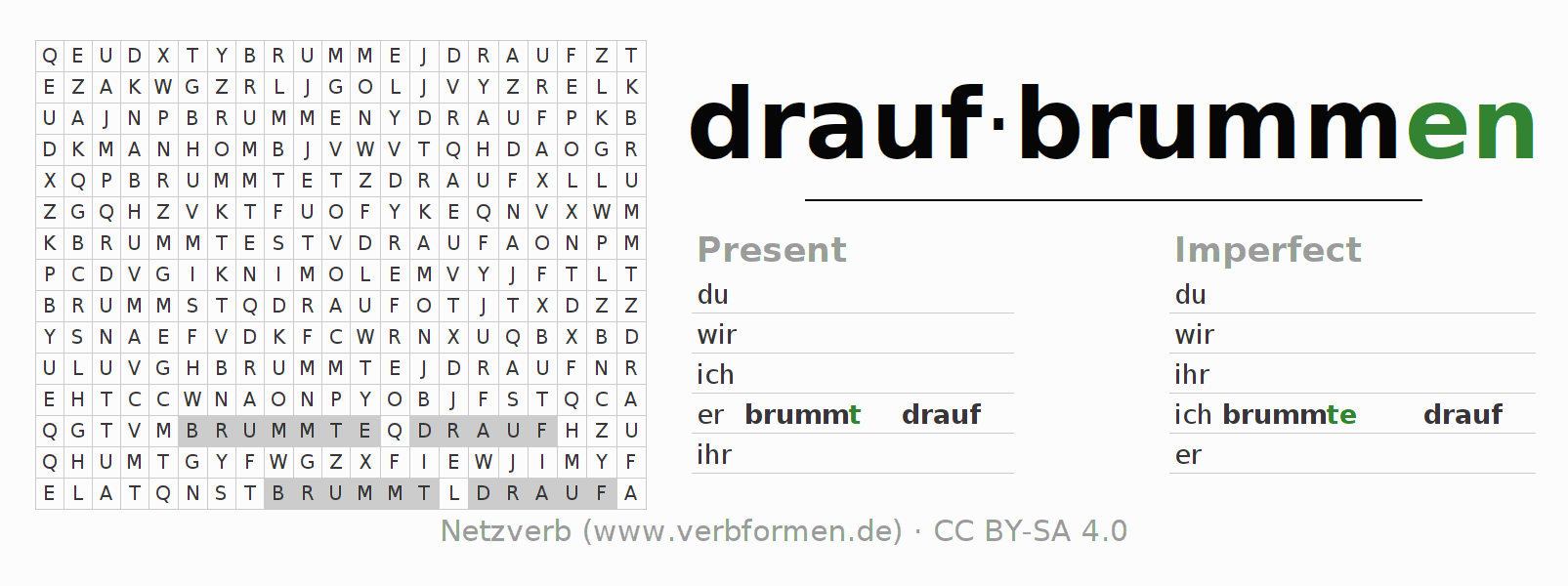 Word search puzzle for the conjugation of the verb draufbrummen