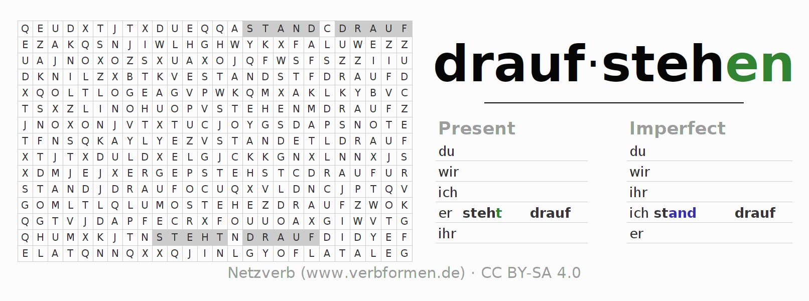 Word search puzzle for the conjugation of the verb draufstehen (hat)