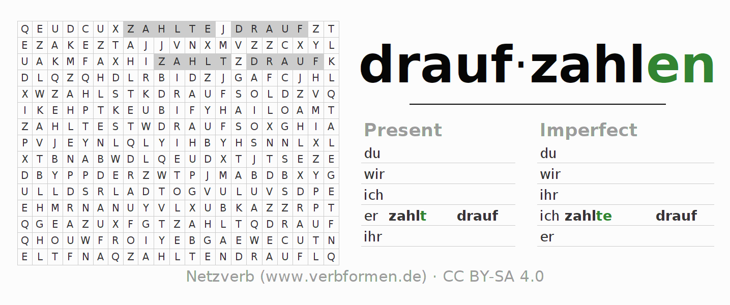 Word search puzzle for the conjugation of the verb draufzahlen