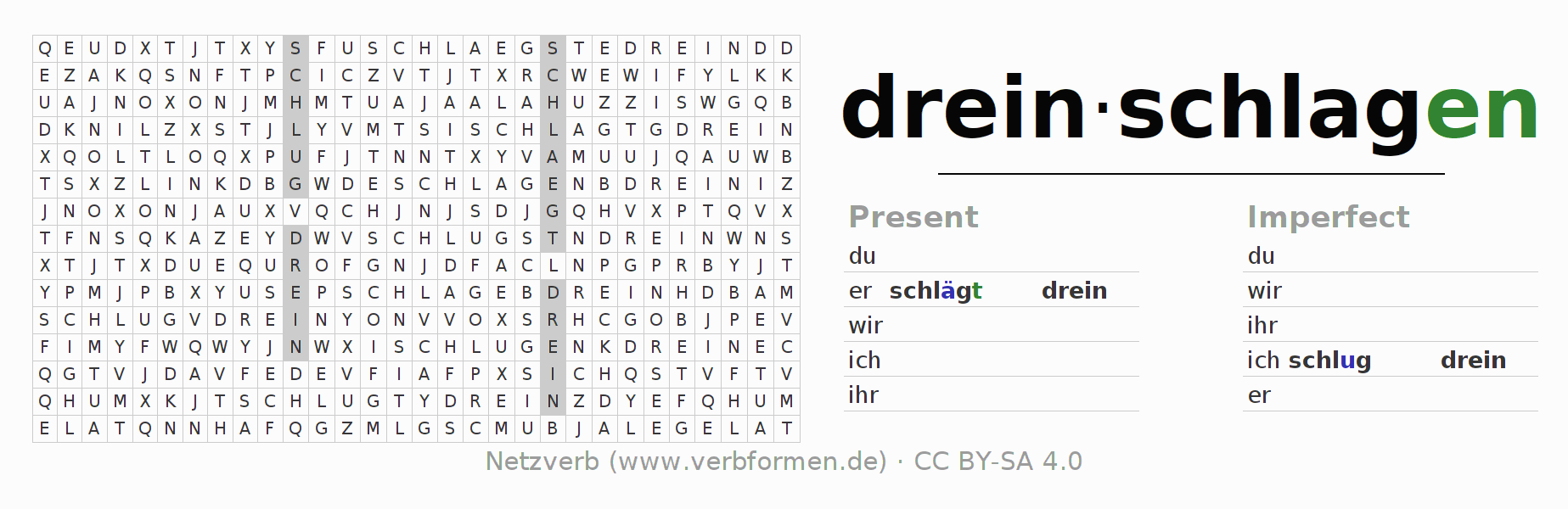Word search puzzle for the conjugation of the verb dreinschlagen