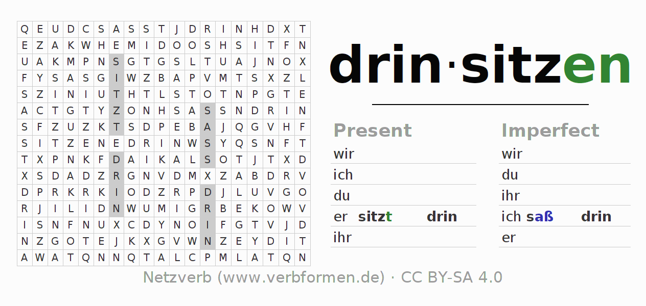 Word search puzzle for the conjugation of the verb drinsitzen (hat)