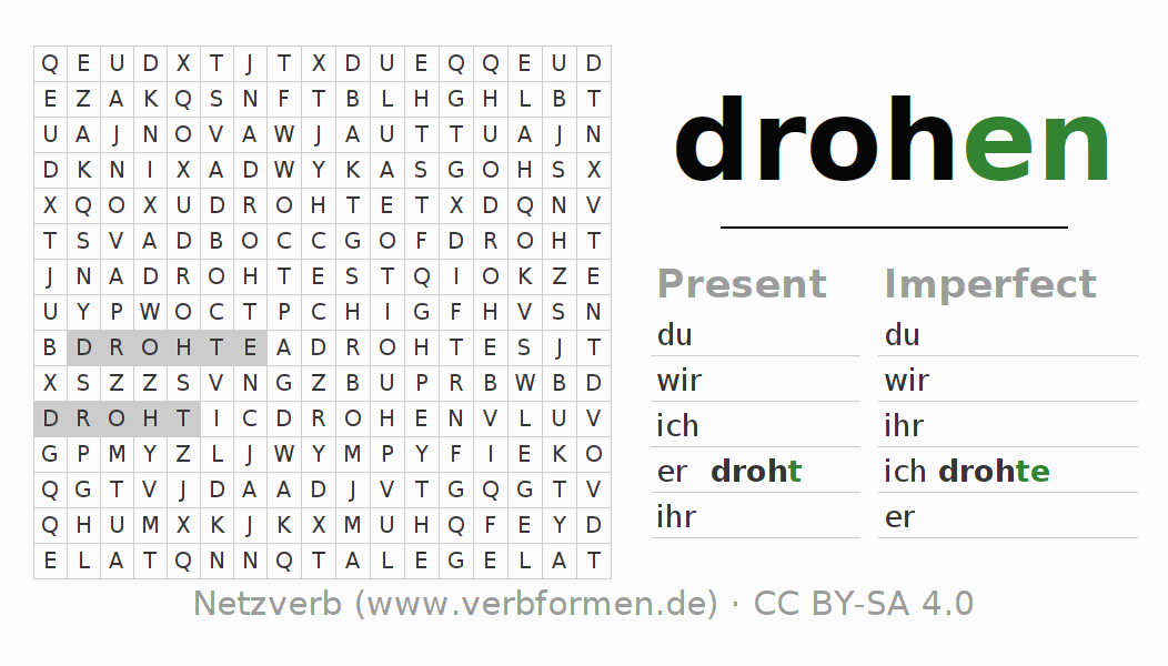 Word search puzzle for the conjugation of the verb drohen