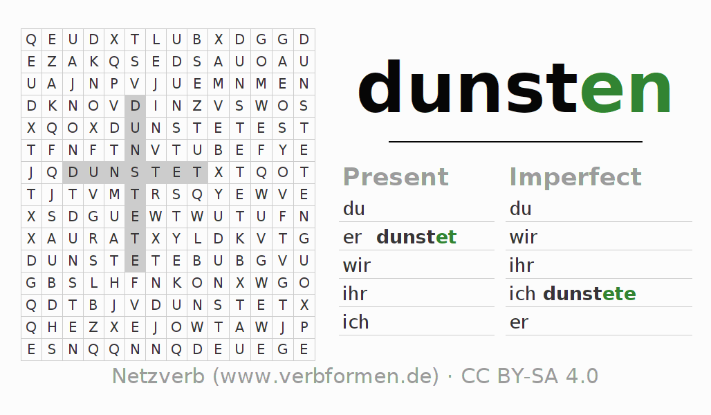 Word search puzzle for the conjugation of the verb dunsten