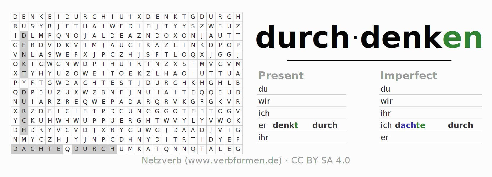 Word search puzzle for the conjugation of the verb durch-denken