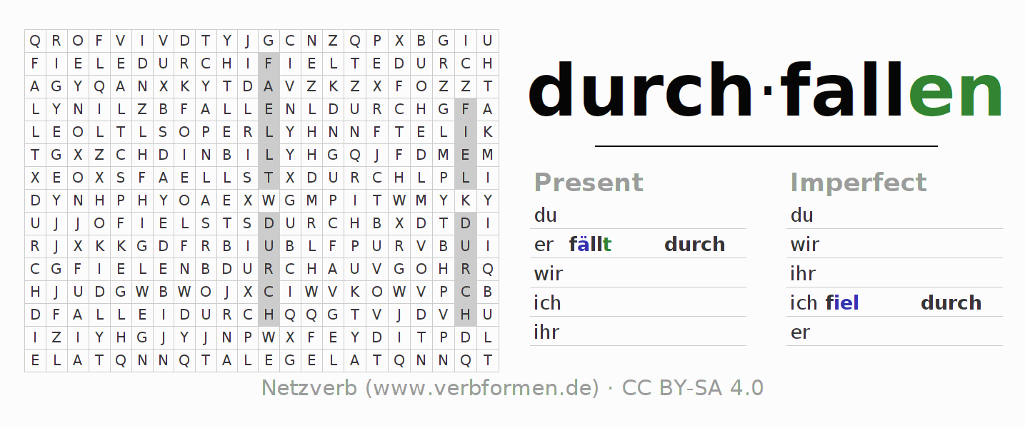 Word search puzzle for the conjugation of the verb durch-fallen (ist)