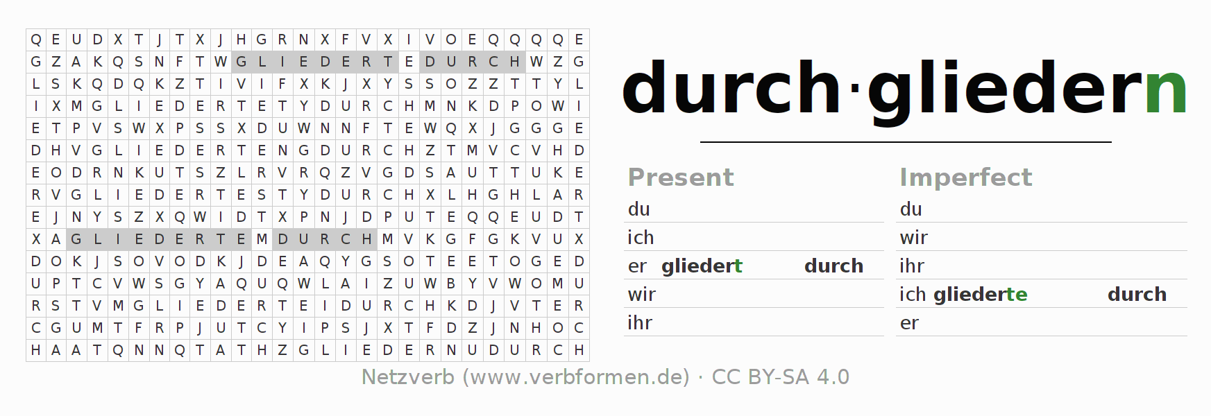 Word search puzzle for the conjugation of the verb durch-gliedern