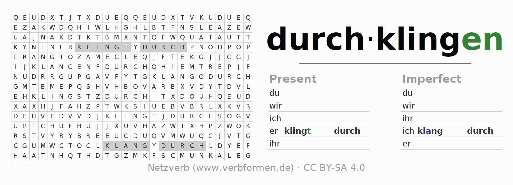 Word search puzzle for the conjugation of the verb durch-klingen (ist)