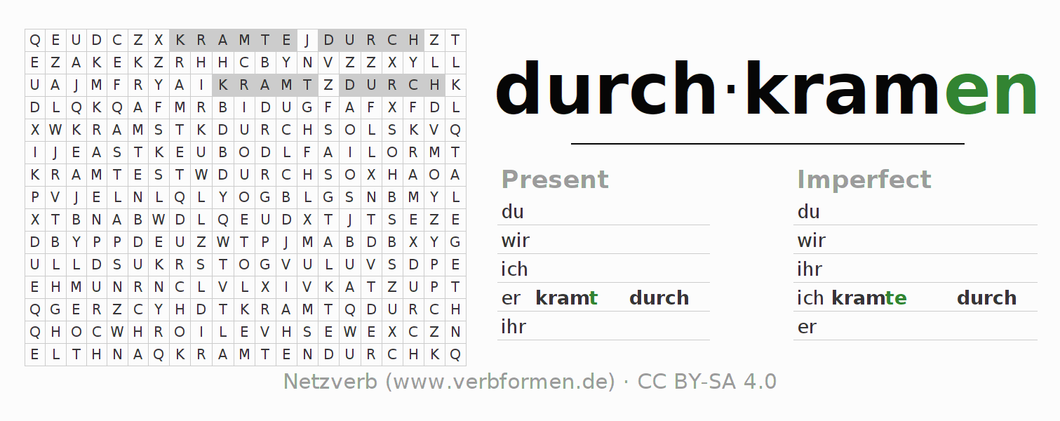 Word search puzzle for the conjugation of the verb durch-kramen