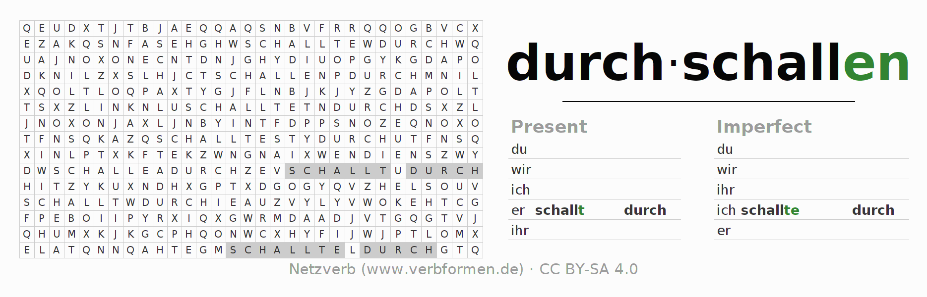 Word search puzzle for the conjugation of the verb durch-schallen (regelm)