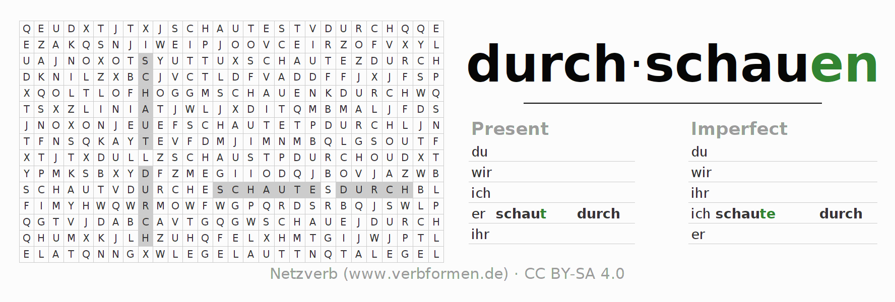 Word search puzzle for the conjugation of the verb durch-schauen