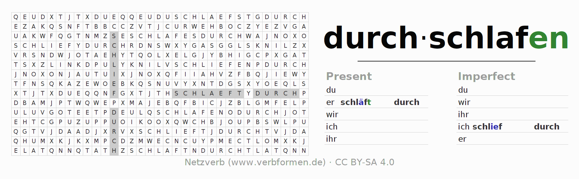 Word search puzzle for the conjugation of the verb durch-schlafen