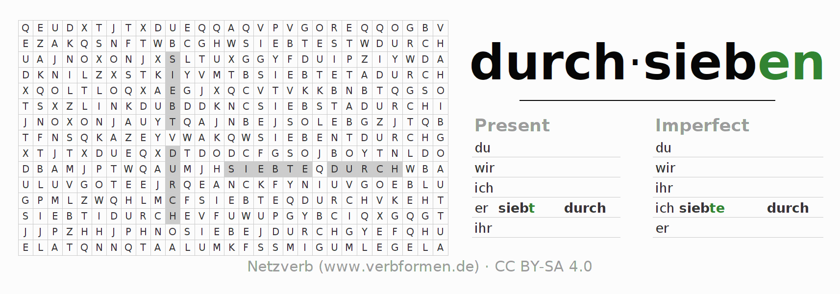 Word search puzzle for the conjugation of the verb durch-sieben