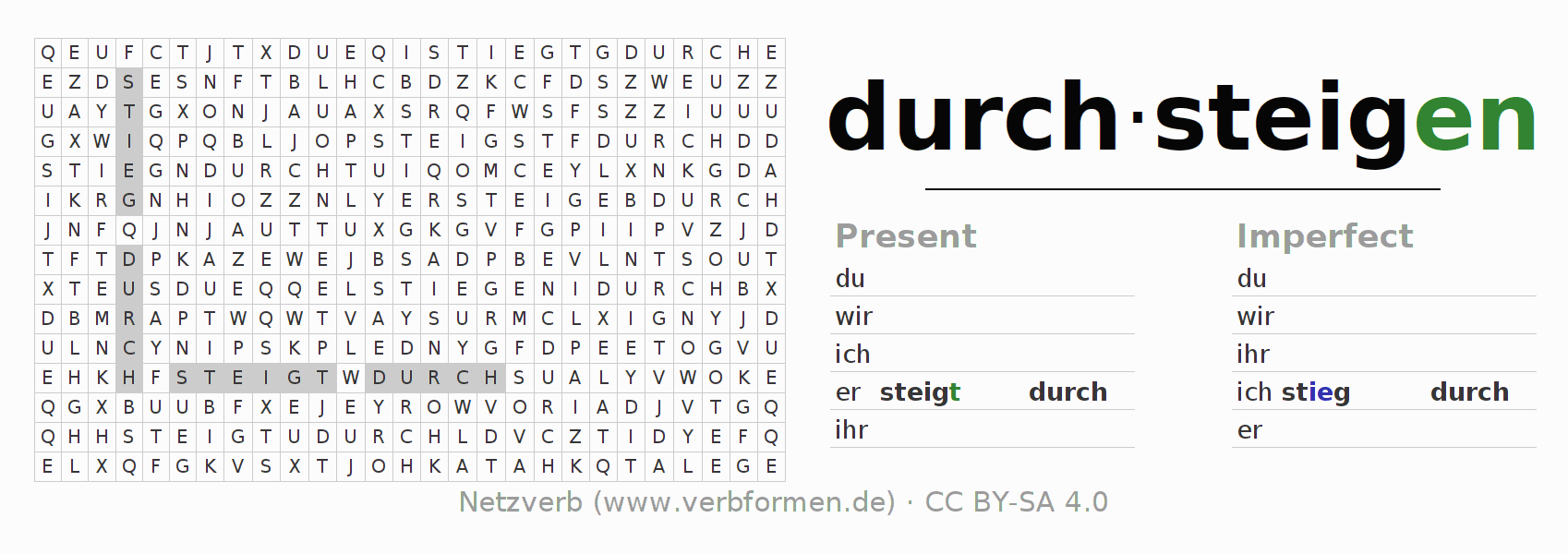 Word search puzzle for the conjugation of the verb durch-steigen (ist)