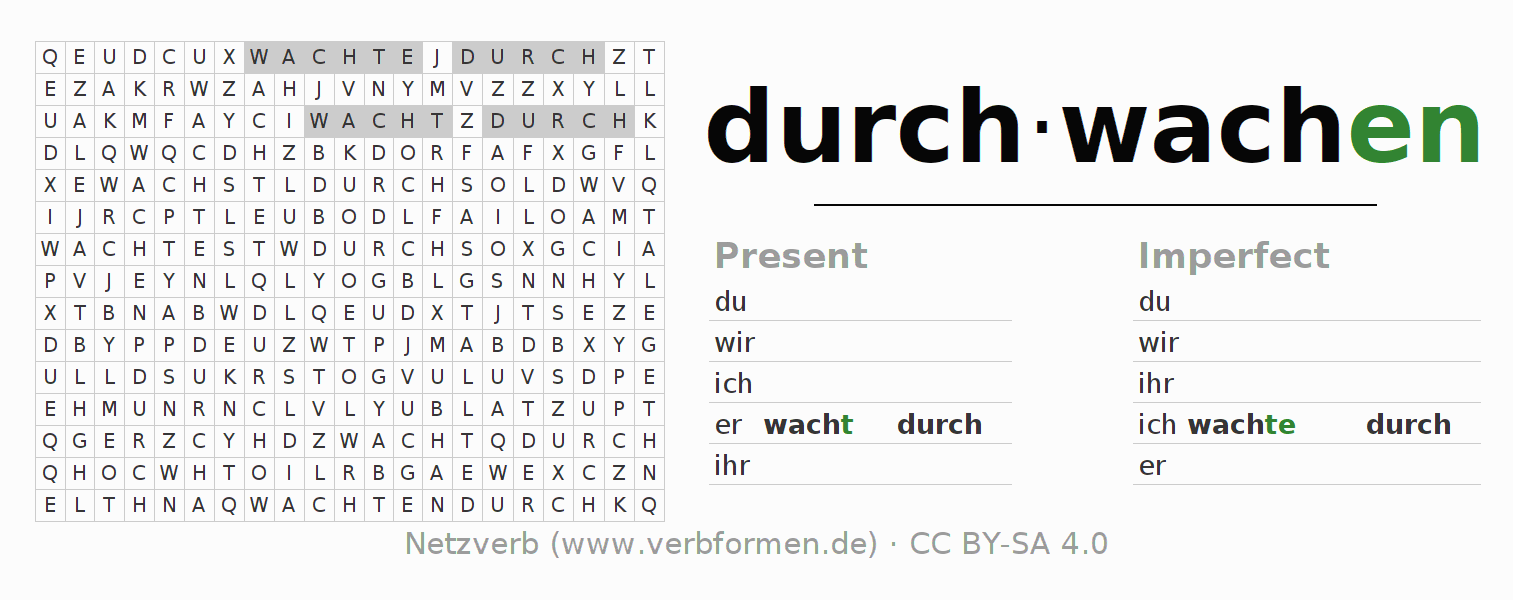 Word search puzzle for the conjugation of the verb durch-wachen