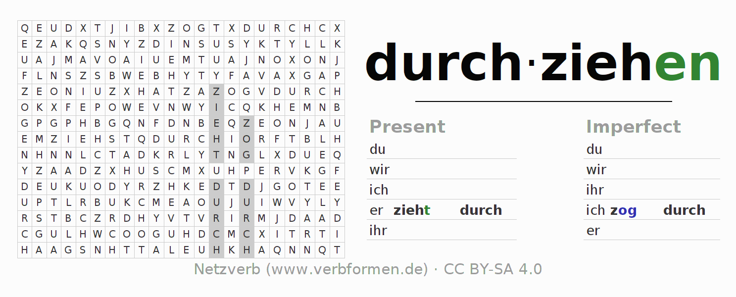 Word search puzzle for the conjugation of the verb durch-ziehen (hat)