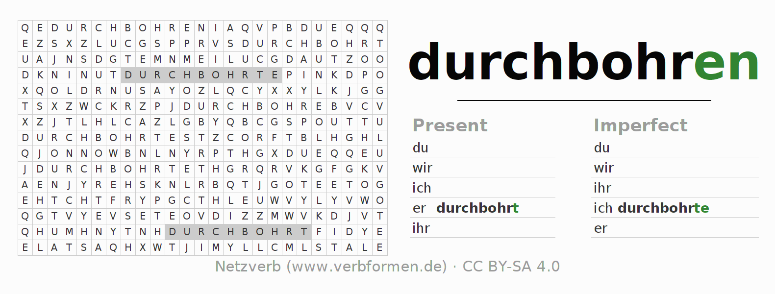 Word search puzzle for the conjugation of the verb durchbohren