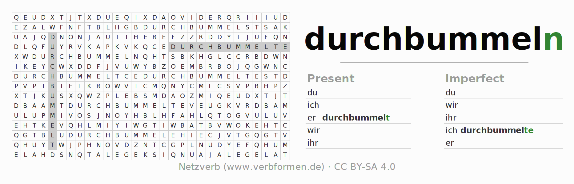 Word search puzzle for the conjugation of the verb durchbummeln (hat)