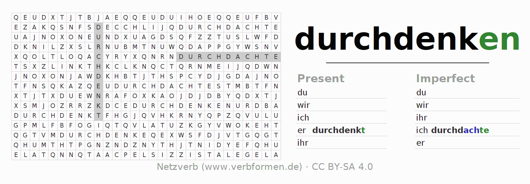 Word search puzzle for the conjugation of the verb durchdenken