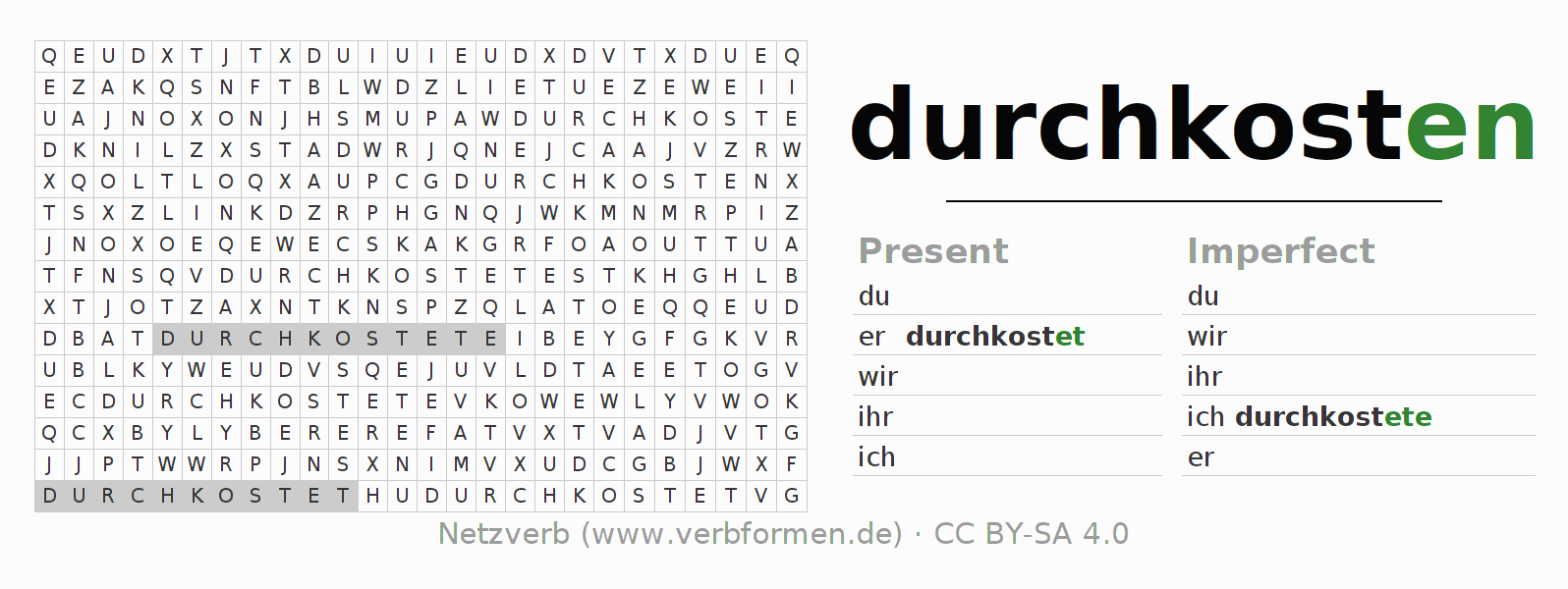 Word search puzzle for the conjugation of the verb durchkosten