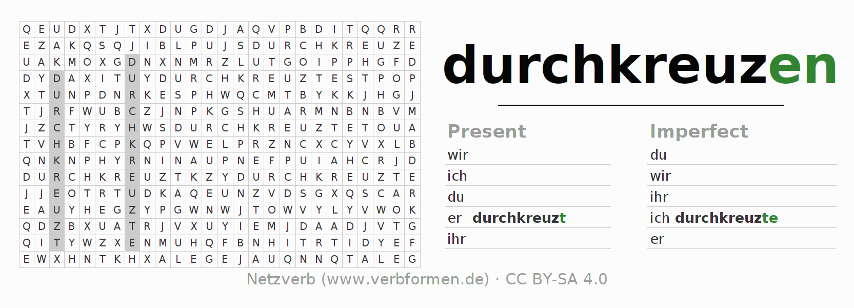 Word search puzzle for the conjugation of the verb durchkreuzen