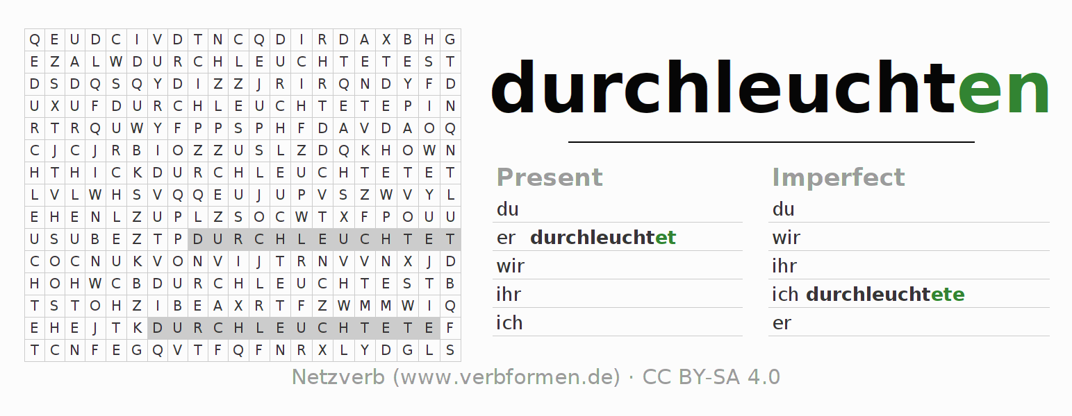 Word search puzzle for the conjugation of the verb durchleuchten