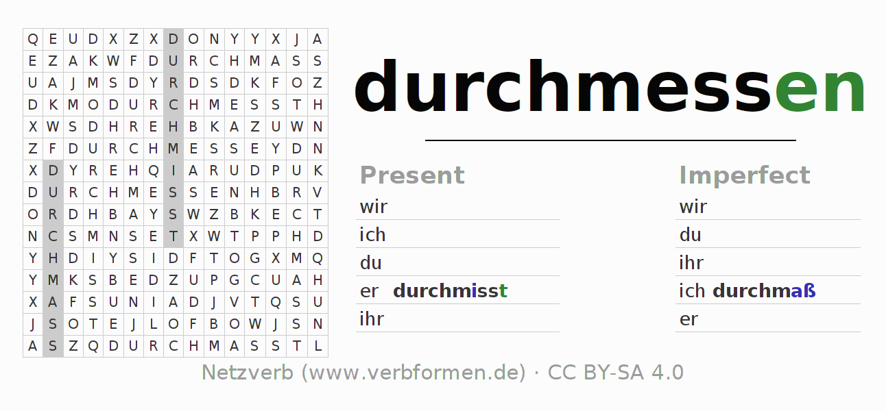 Word search puzzle for the conjugation of the verb durchmessen