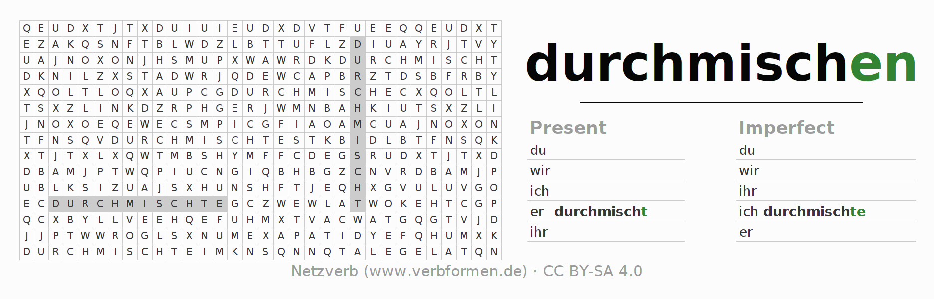 Word search puzzle for the conjugation of the verb durchmischen