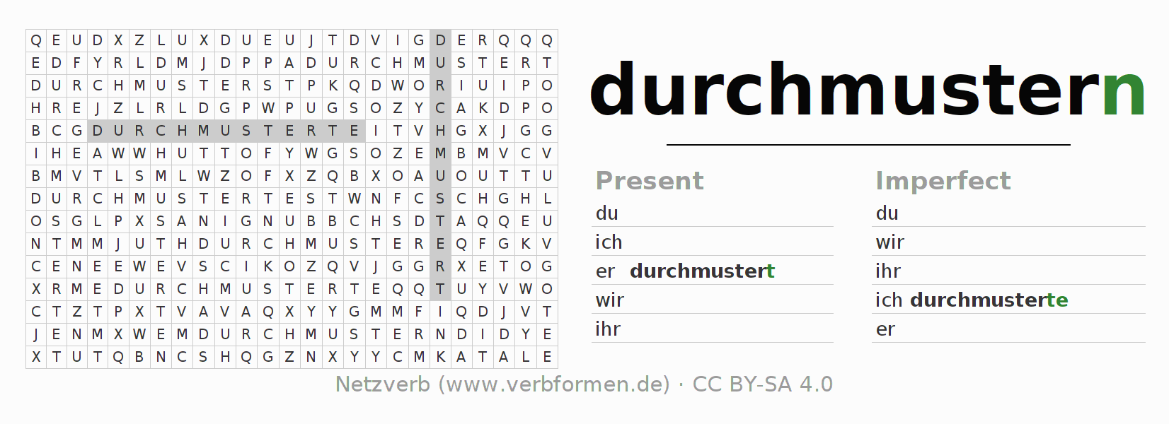 Word search puzzle for the conjugation of the verb durchmustern