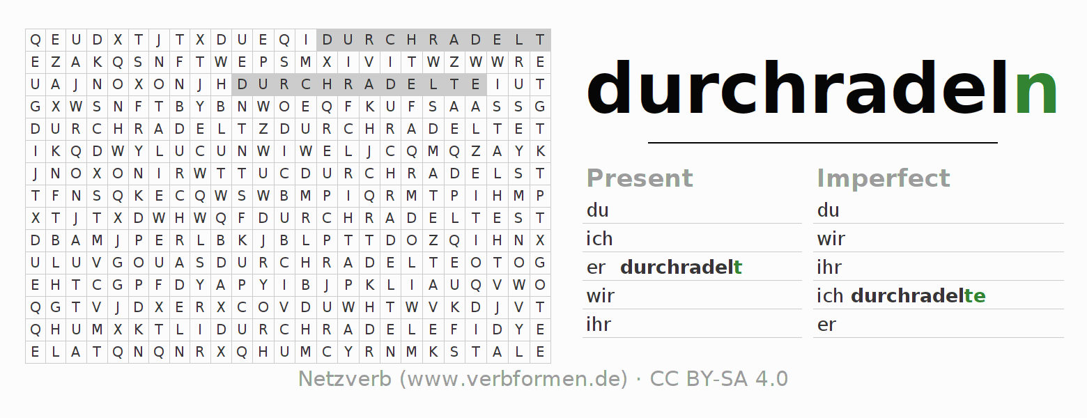 Word search puzzle for the conjugation of the verb durchradeln (hat)