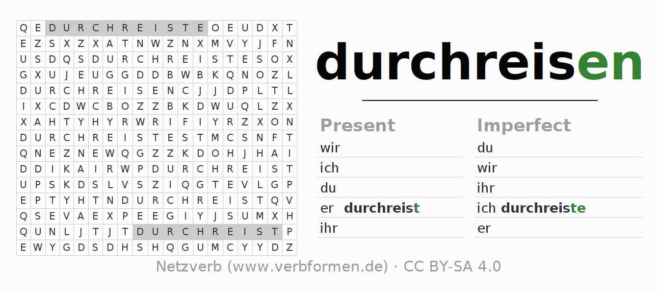 Word search puzzle for the conjugation of the verb durchreisen (hat)