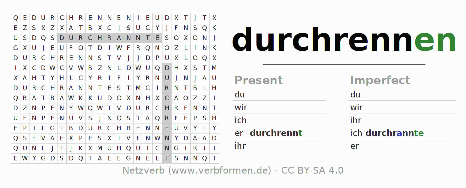 Word search puzzle for the conjugation of the verb durchrennen (hat)