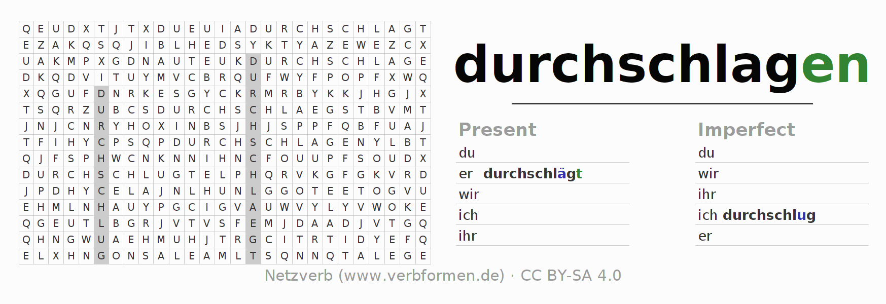 Word search puzzle for the conjugation of the verb durchschlagen (hat)