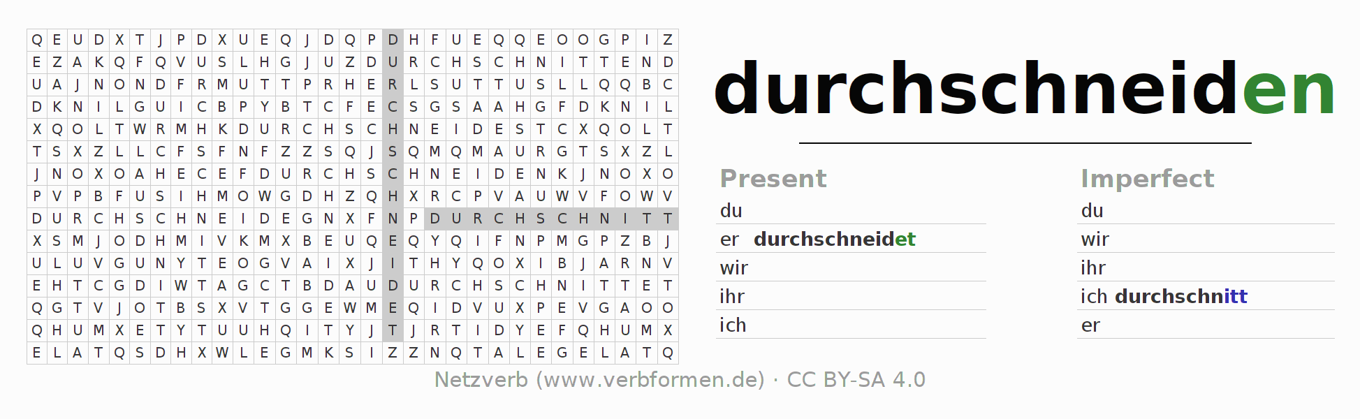 Word search puzzle for the conjugation of the verb durchschneiden