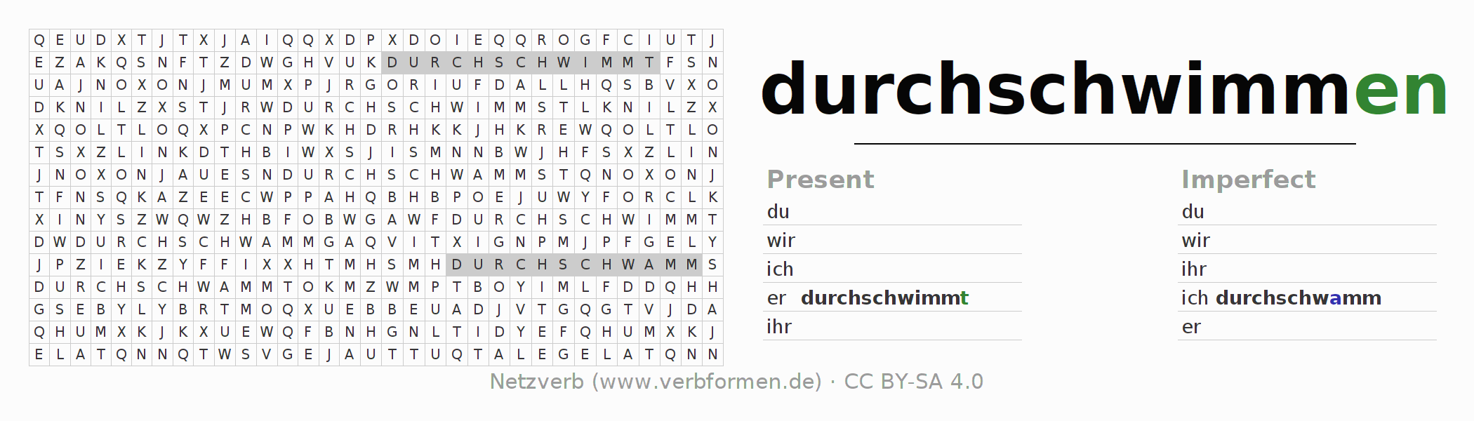 Word search puzzle for the conjugation of the verb durchschwimmen (hat)