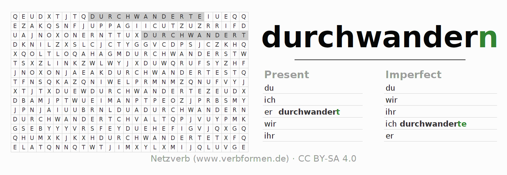 Word search puzzle for the conjugation of the verb durchwandern (hat)