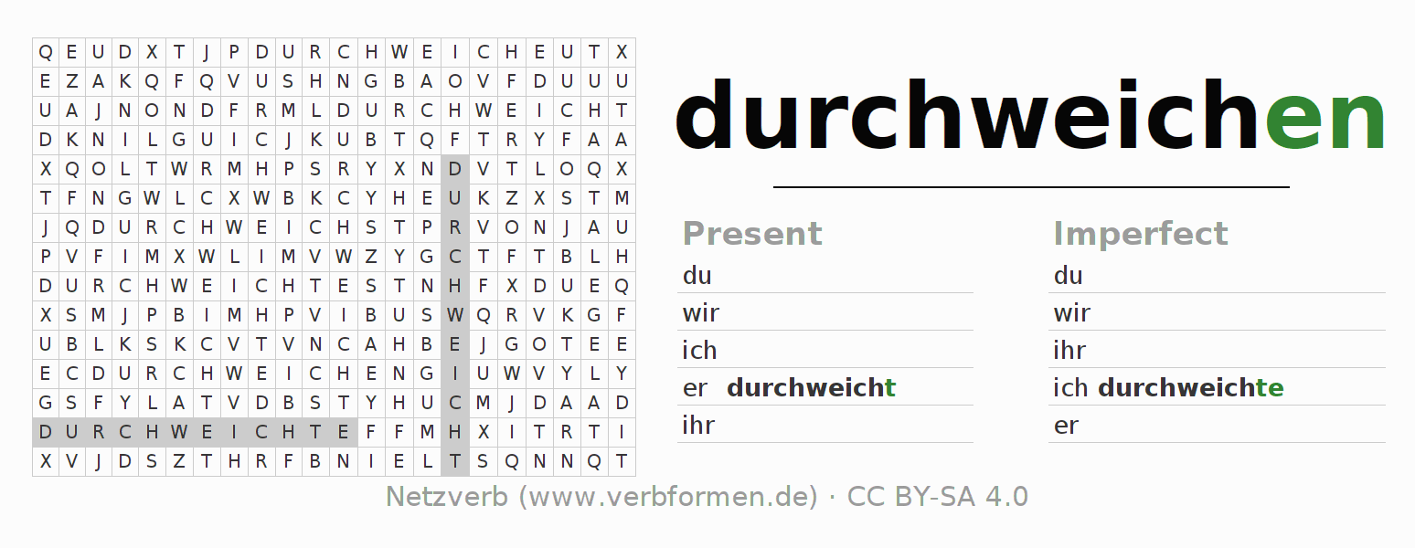 Word search puzzle for the conjugation of the verb durchweichen (hat)