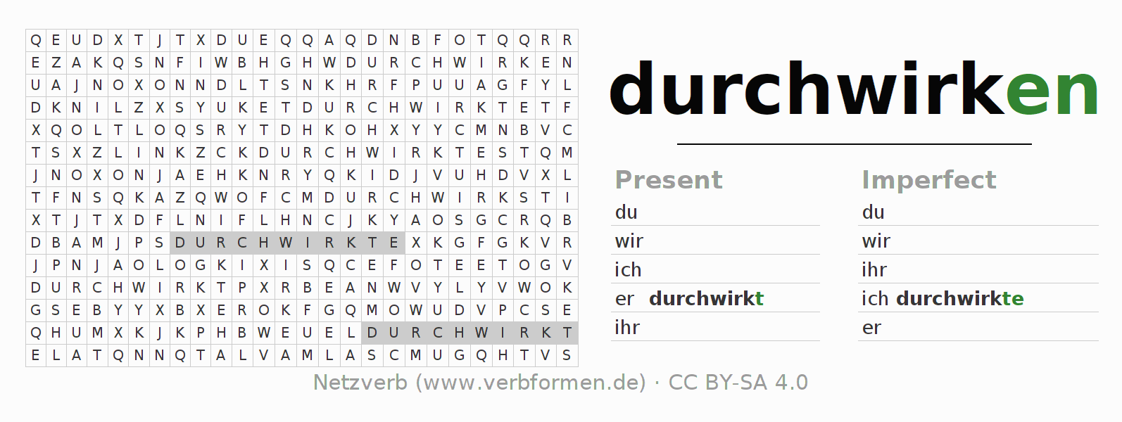 Word search puzzle for the conjugation of the verb durchwirken