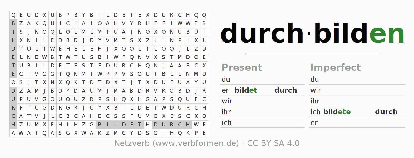 Word search puzzle for the conjugation of the verb durchbilden