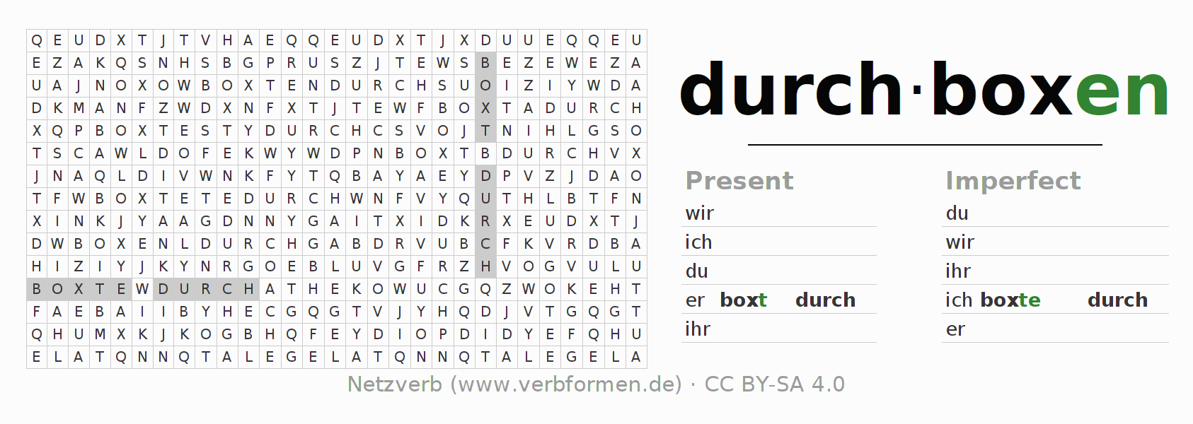 Word search puzzle for the conjugation of the verb durchboxen