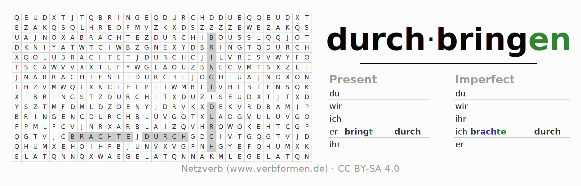 Word search puzzle for the conjugation of the verb durchbringen