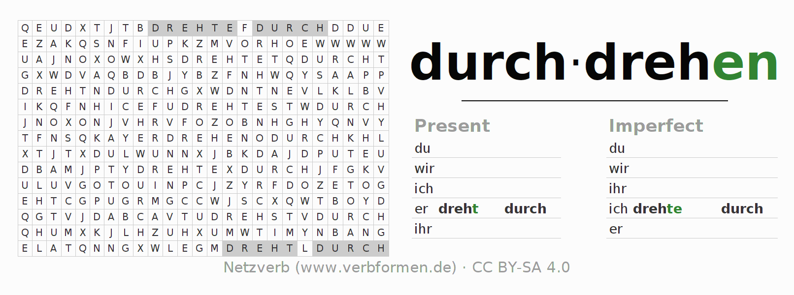 Word search puzzle for the conjugation of the verb durchdrehen (hat)