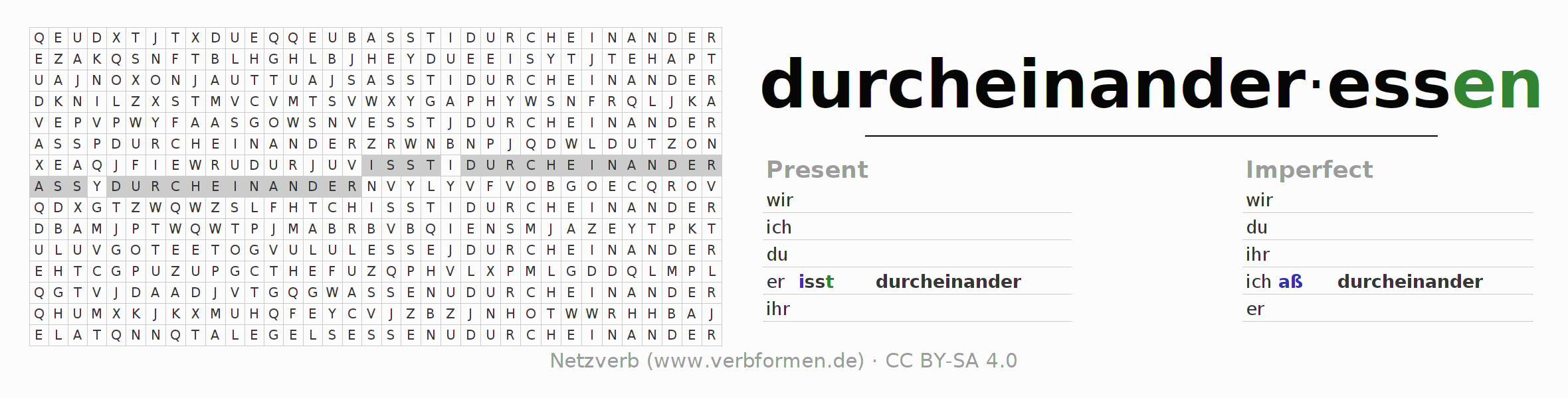 Word search puzzle for the conjugation of the verb durcheinanderessen