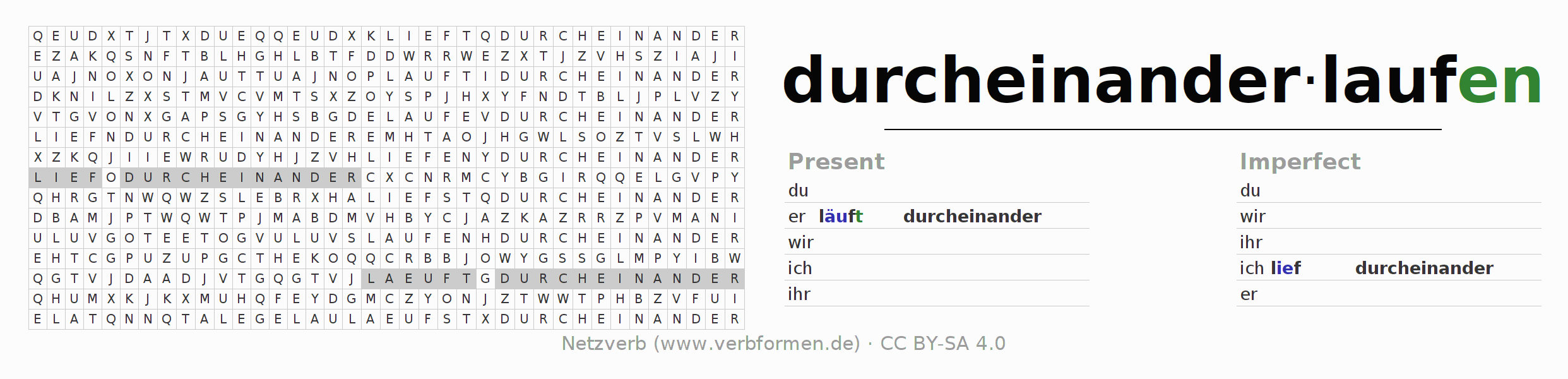 Word search puzzle for the conjugation of the verb durcheinanderlaufen